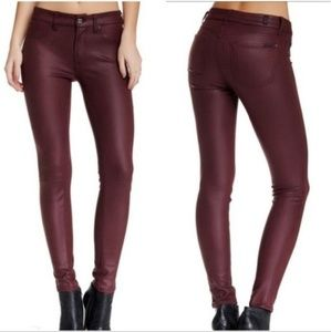 7 For All Mankind Coated Skinny Jeans In Bordeaux